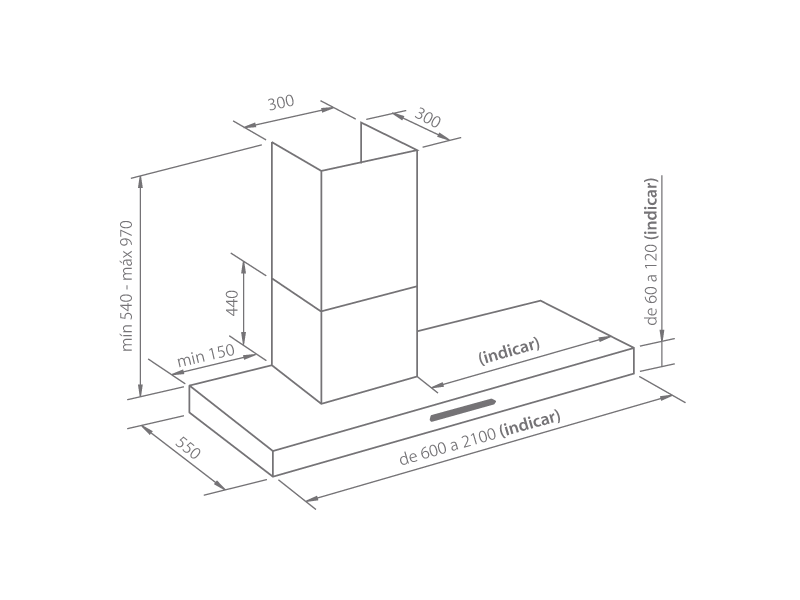 Campana extractora de cocina a medida emotion tubo desplazado frecan - Campana extractora medidas ...